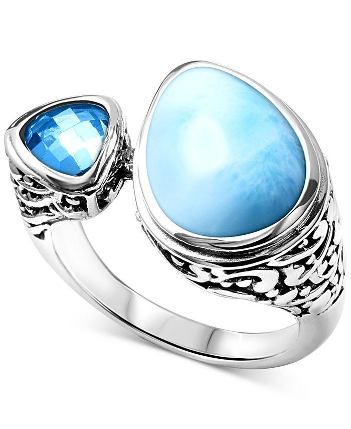 Marahlago - Larimar & Blue Topaz (3/4 ct. t.w.) Cuff Ring in Sterling Silver