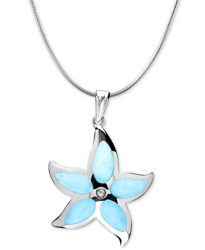 """Marahlago - Larimar Starfish 21"""" & White Topaz Accent Pendant Necklace in Sterling Silver"""