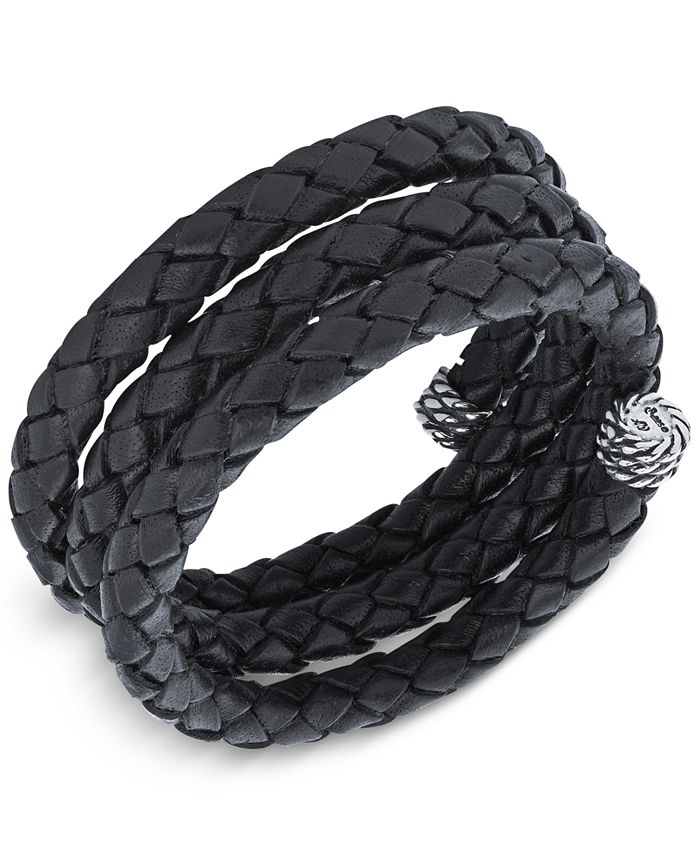 American West - Braided Leather Coil Wrap Bracelet in Sterling Silver