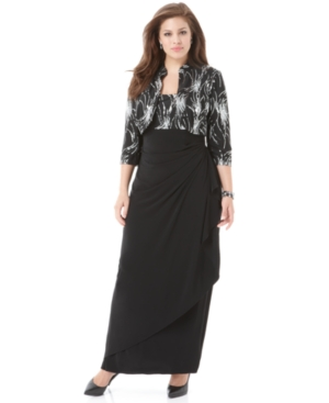 Alex Evenings Plus Size Dress and Jacket, Sleeveless Beaded Empire Waist Evening Gown