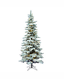 Vickerman 10' Flocked Utica Fir Slim Artificial Christmas Tree with 700 Warm White LED Lights