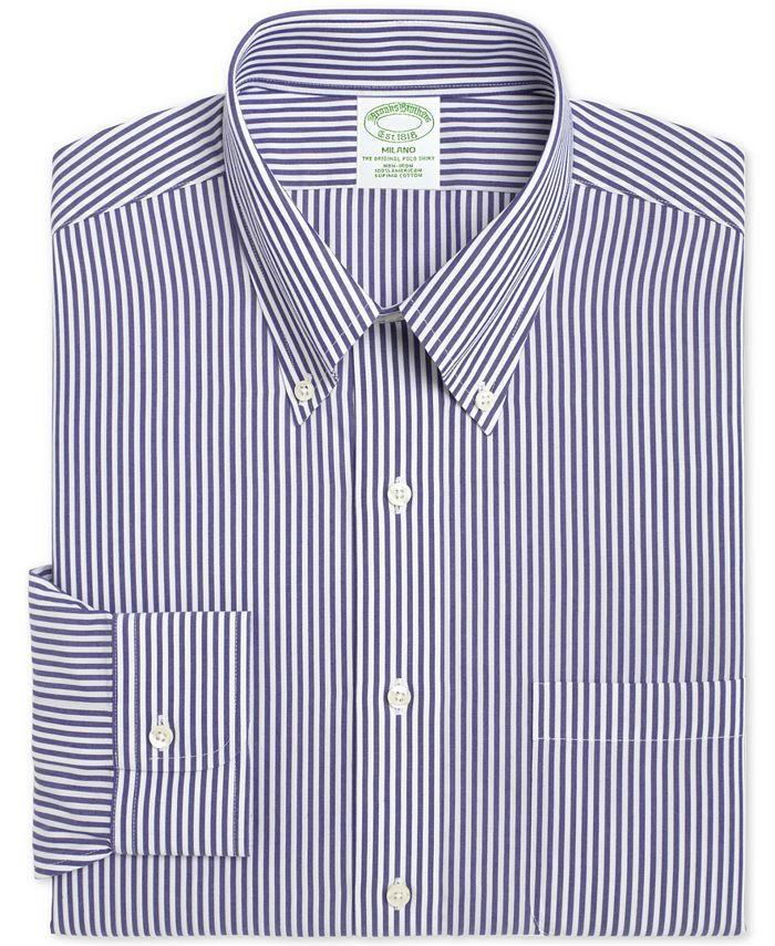 Brooks Brothers - Men's Milano Extra-Slim Fit Non-Iron Broadcloth Blue Bengal Stripe Dress Shirt