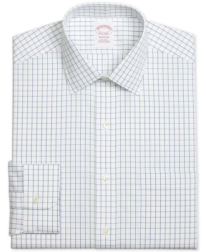 Brooks Brothers - Men's Madison Classic/Regular Fit Non-Iron Windowpane Blue Dress Shirt