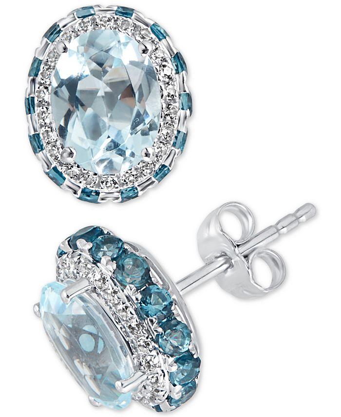 Macy's - Blue Topaz (4-1/2 ct.t.w) & White topaz (1/4 ct.t.w) Earrings in Sterling Silver (Also Available in Amethyst)