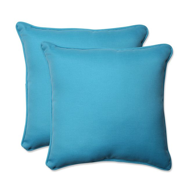 "Pillow Perfect Veranda Turquoise 18.5"" Throw Pillow, Set of 2"