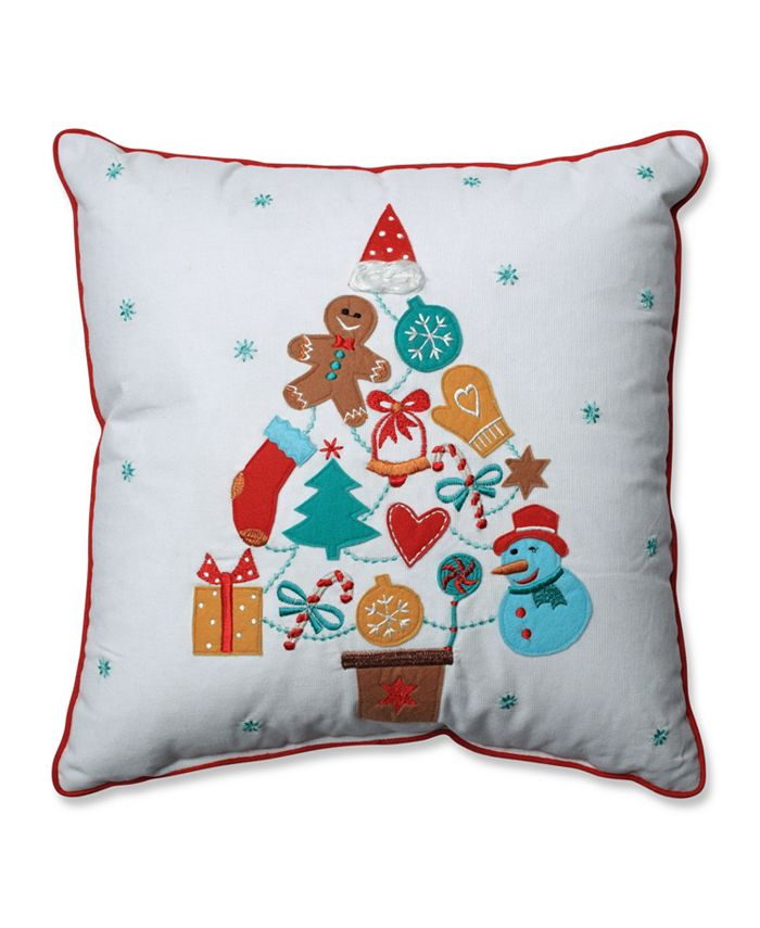 Pillow Perfect - Gift Tree Red-Aqua 16-inch Throw Pillow