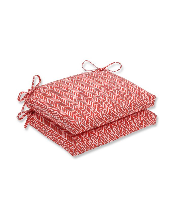 Pillow Perfect - Herringbone Tomato Squared Corners Seat Cushion (Set of 2)