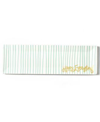 Mint Stripe Skinny Rectangle Tray