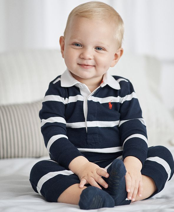 Polo Ralph Lauren Ralph Lauren Baby Boys Striped Rugby Cotton Coverall