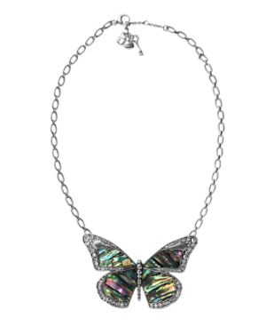 fossil necklace  silver tone abalone butterfly pendant