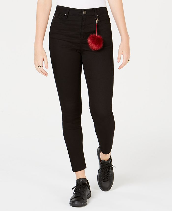 Tinseltown - Juniors' High-Waist Colored Skinny Jeans with Pompom