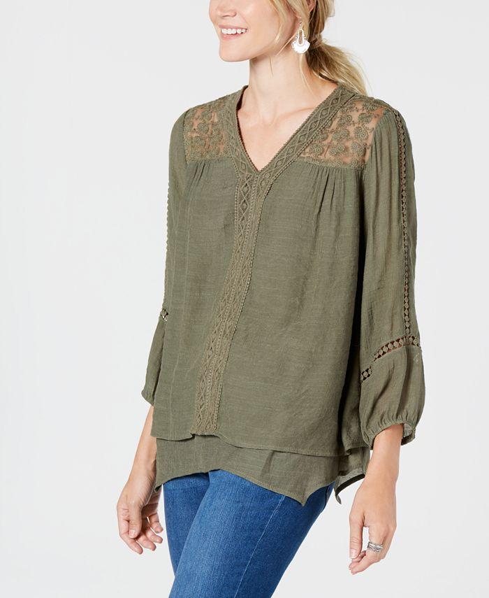 Style Co Lace Yoke Handkerchief Hem Top Created For Macy S Reviews Tops Women Macy S