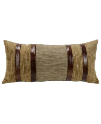 Herringbone 12x26 Pillow with Faux Lether Stripes