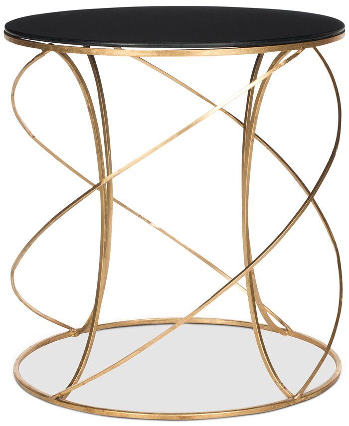 Safavieh - Cagney Glass Top Round Accent Table, Quick Ship