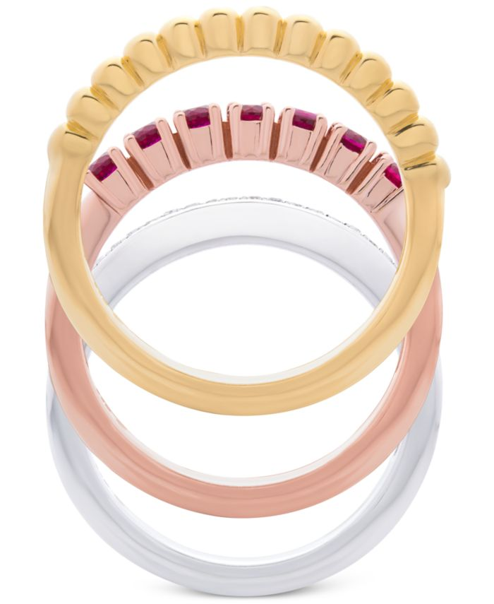 Macy's 3-Pc. Set Lab-Created Ruby (5/8 ct. t.w.) & White Sapphire (1/10 ct. t.w.) Stack Rings in Sterling Silver, Gold-Plate & Rose Gold-Plate & Reviews - Rings - Jewelry & Watches - Macy's