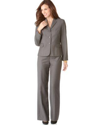 Nine West Suit, Long Sleeve Button Cuff Jacket & Pants