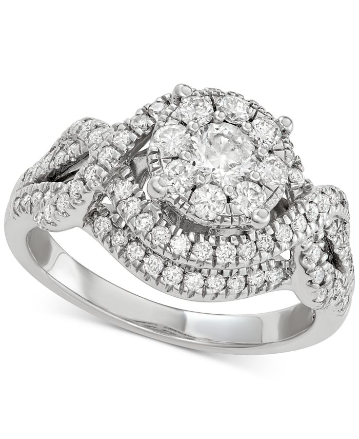 Macy's - Diamond Cluster Engagement Ring (1-1/5 ct. t.w.) in 14k Gold