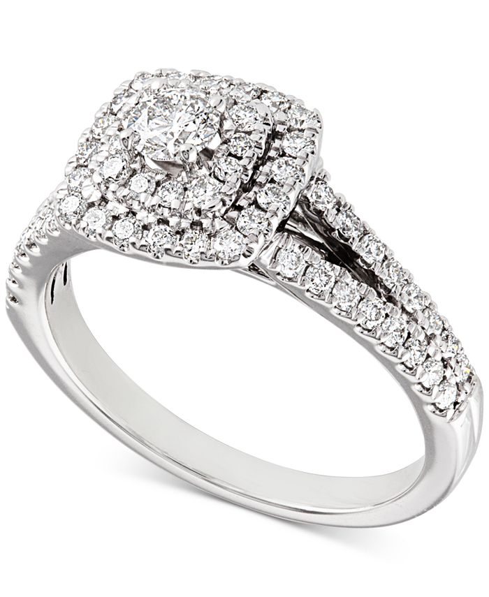 Macy's - Diamond Double Halo Engagement Ring (3/4 ct. t.w.) in 14k White Gold