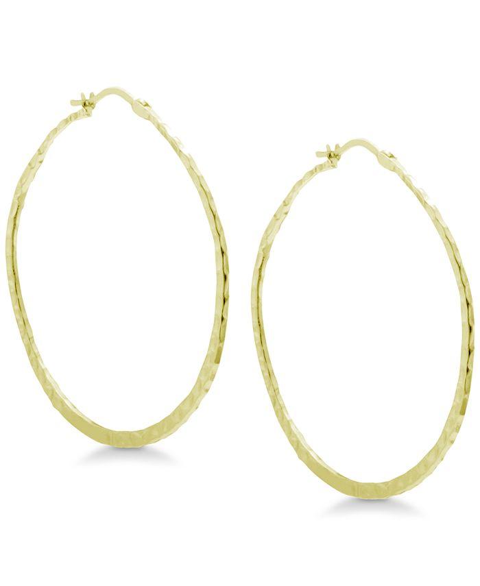 Essentials - Textured Hoop Earrings in Gold-Plate
