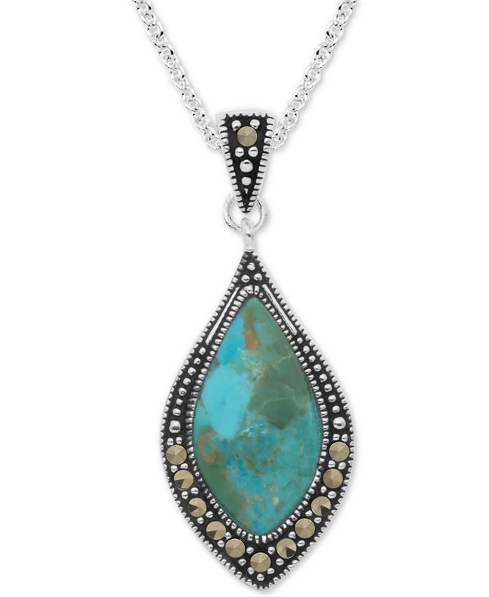 "Macy's - Marcasite & Blue Stone 18"" Pendant Necklace in Fine Silver-Plate"