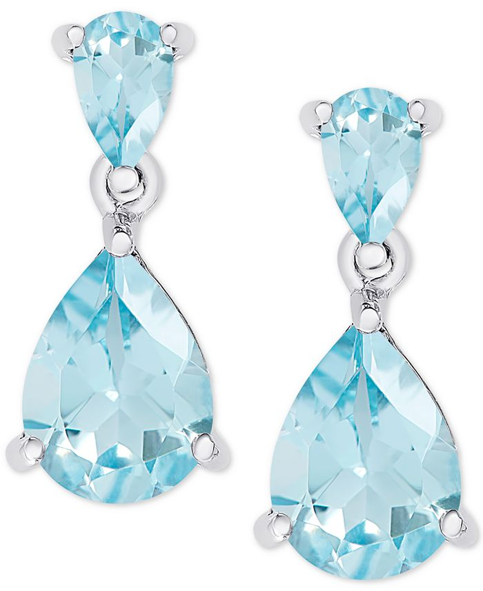 Macy's - Blue Topaz Double Drop Earrings (2-1/2 ct. t.w.) in Sterling Silver
