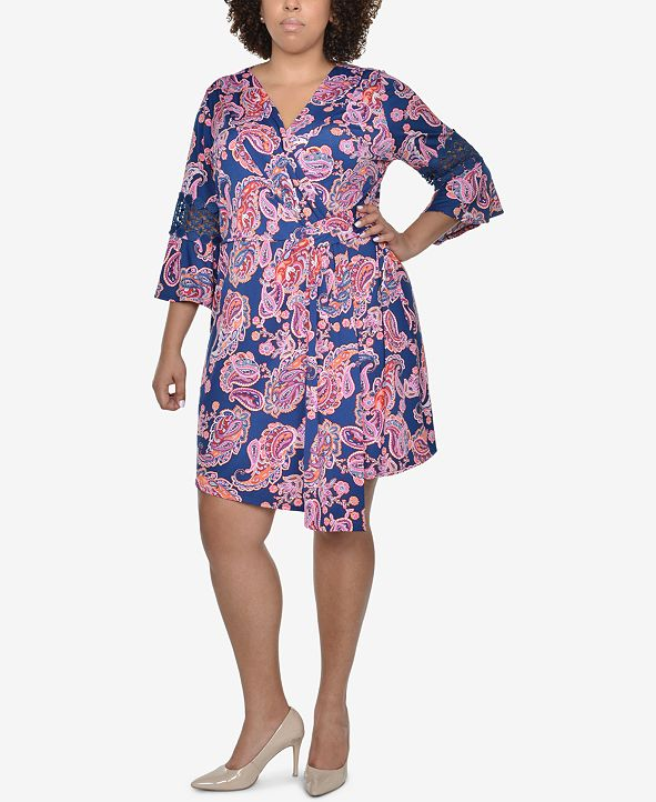 NY Collection Plus Size Printed Wrap Dress