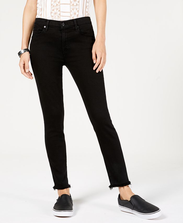 7 For All Mankind - Frayed-Hem Skinny Jeans