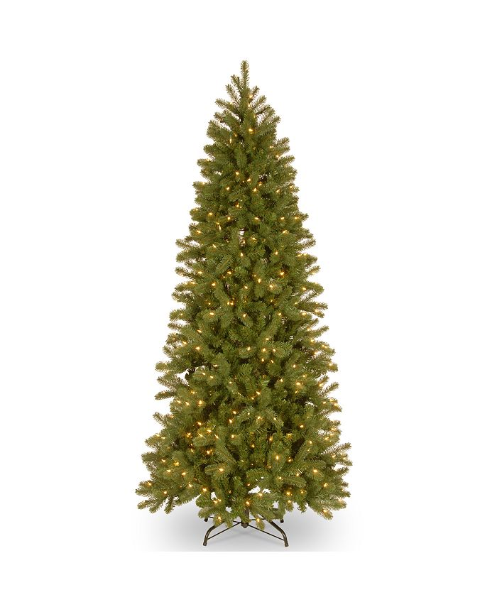 National Tree Company - National Tree 7' Feel Real Downswept Douglas Fir Pencil Slim Hinged Tree with 300 Dual Color LED Lights