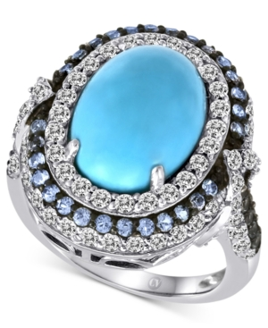 Carlo Viani 14k White Gold Ring, Turquoise and Multistone Ring