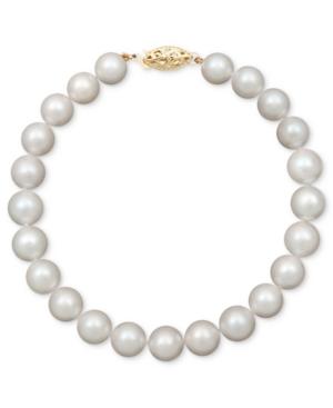 "Belle de Mer Pearl Bracelet, 7-1/2"" 14k Gold A+ Cultured Freshwater Pearl Strand (7-1/2-8mm)"