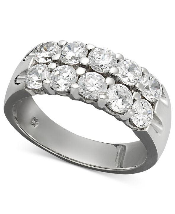 Macy's Two-Row Certified Diamond Band Ring in 14k White Gold (1-1/2 ct. t.w.)