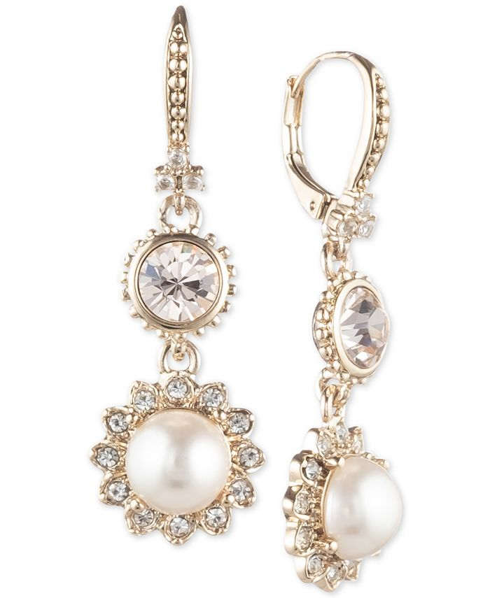 Marchesa - Gold-Tone Imitation Pearl & Crystal Drop Earrings