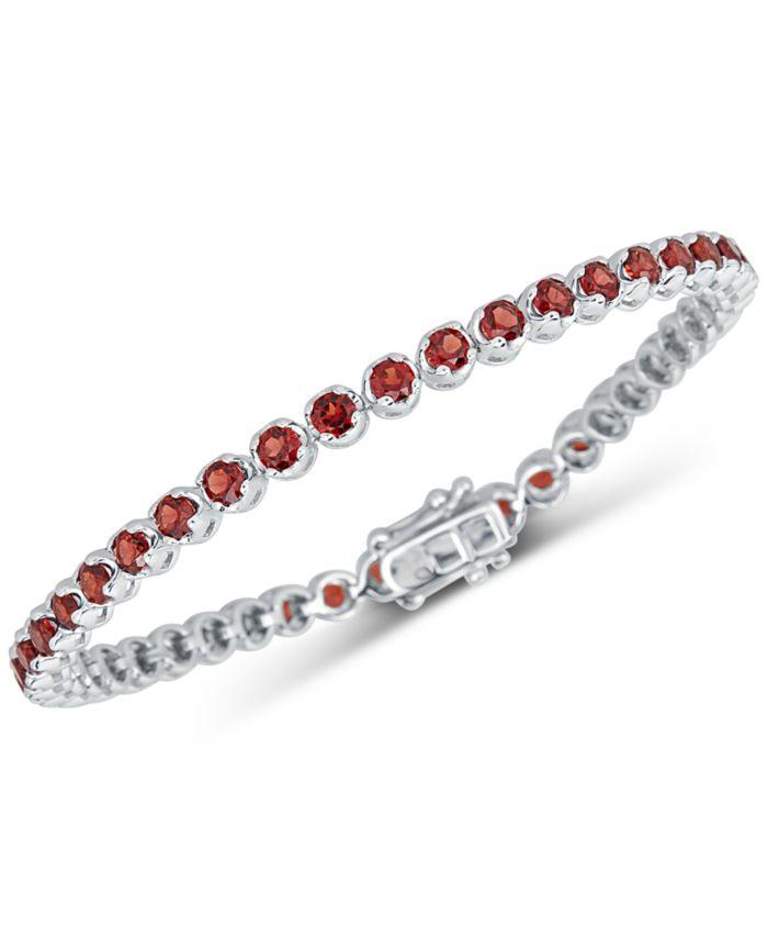Macy's Rhodolite Garnet Link Bracelet (4 ct. t.w.) in Sterling Silver & Reviews - Bracelets - Jewelry & Watches - Macy's