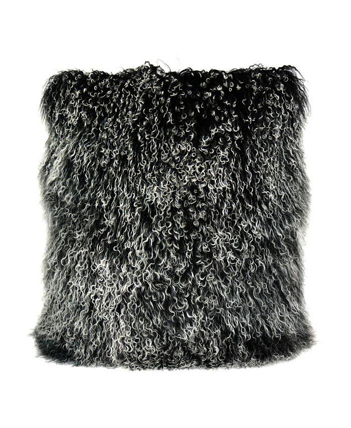 Moe's Home Collection - LAMB FUR PILLOW LARGE BLACK SNOW