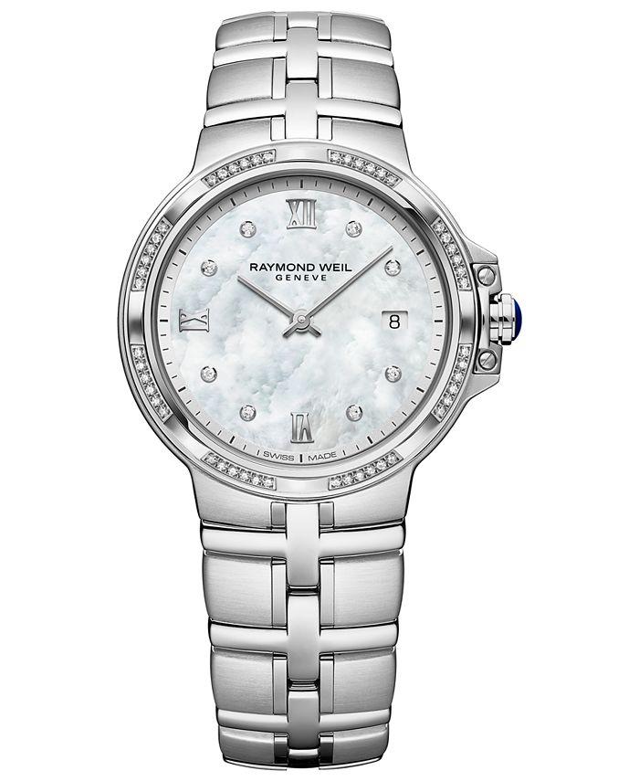 Raymond Weil - Women's Swiss Parsifal Diamond-Accent Stainless Steel Bracelet Watch 30mm