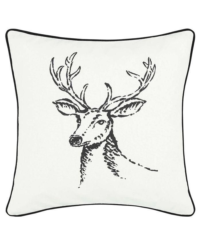 Eddie Bauer - Winter Morning Stag Black Square Pillow