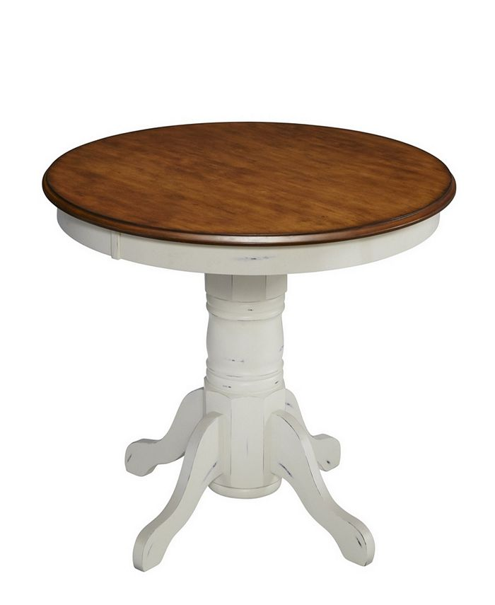 Home Styles - The French Countryside Oak and Rubbed White Pedestal Table