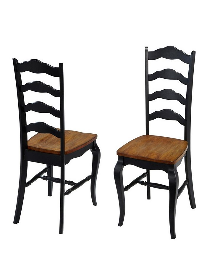 Home Styles - The French Countryside Oak and Rubbed Black Dining Chair Pair