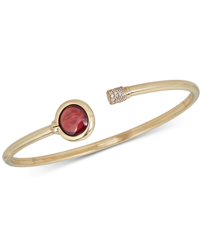 Macy's Garnet (2 ct. t.w.) and Diamond (1/5 ct. t.w.) Bangle Bracelet in 14k Gold over Sterling Silver & Reviews - Bracelets - Jewelry & Watches - Macy's