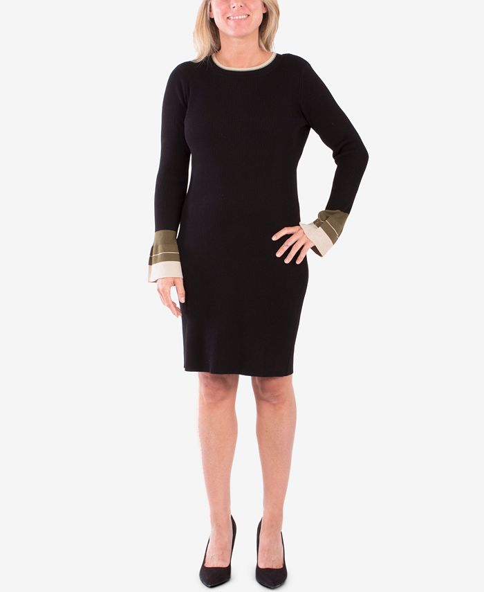 NY Collection - Colorblocked Bell-Sleeve Sweater Dress