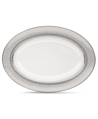 "Noritake Dinnerware, Odessa Platinum Oval Platter 14"""