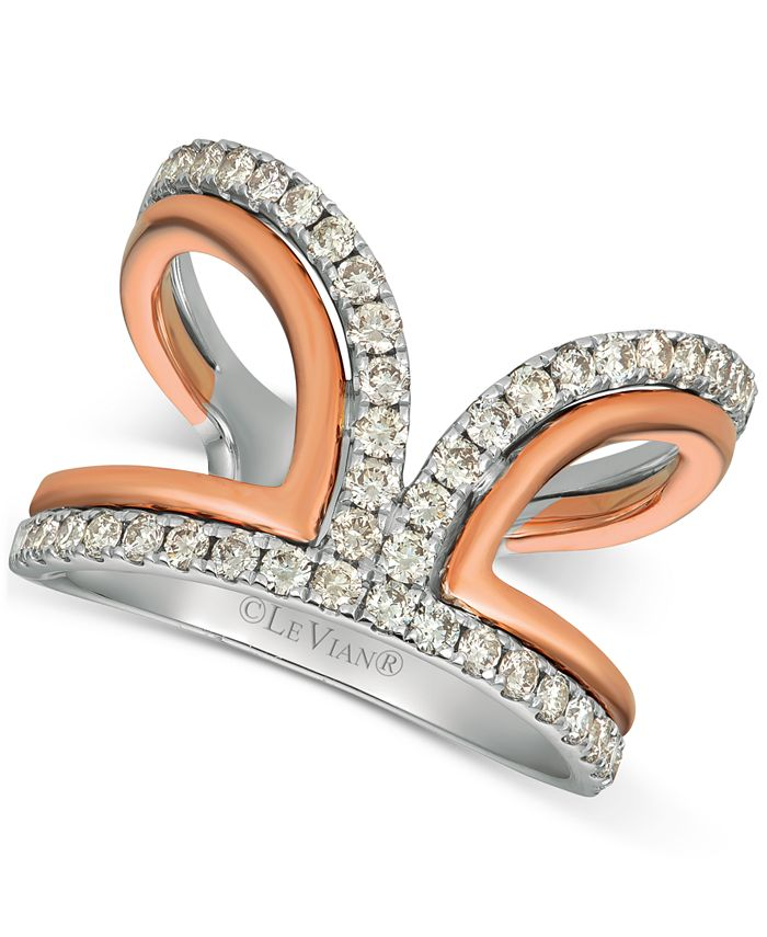 Le Vian - Nude Diamonds™ Two-Tone Statement Ring (3/4 ct. t.w.) in 14k White & Rose Gold