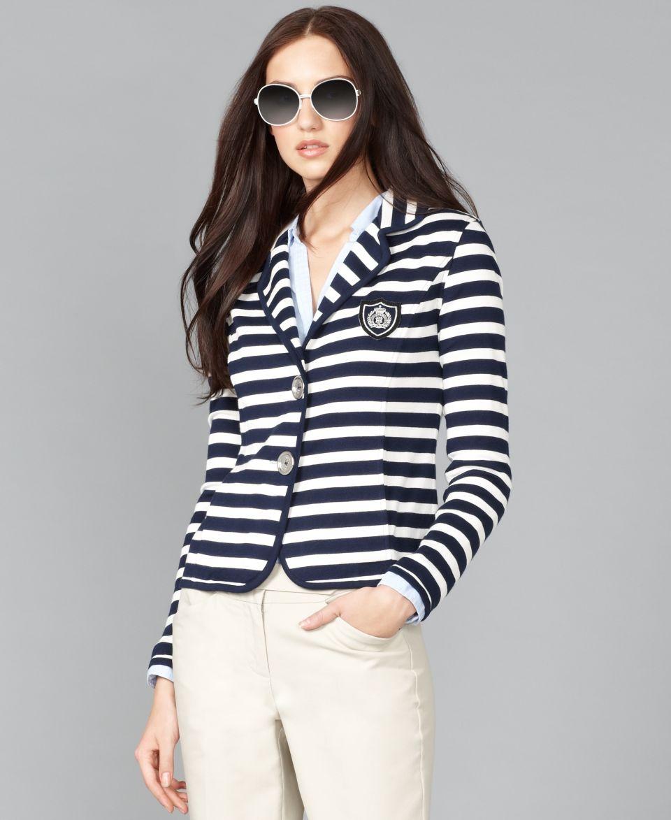 Tommy Hilfiger Jacket, Long Sleeve Striped Blazer   Jackets & Blazers   Women