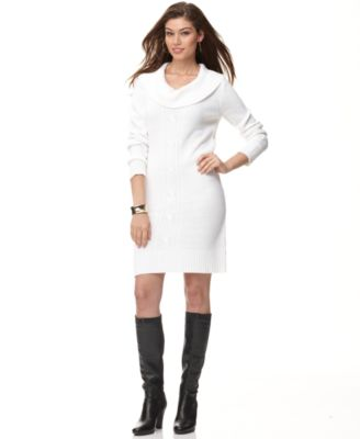 NY Collection Dress, Long Sleeve Cowl Neck Cable Knit Sweater Dress