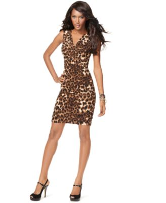 INC International Concepts Dress, Sleeveless Animal Print Cowl Neck Ruched
