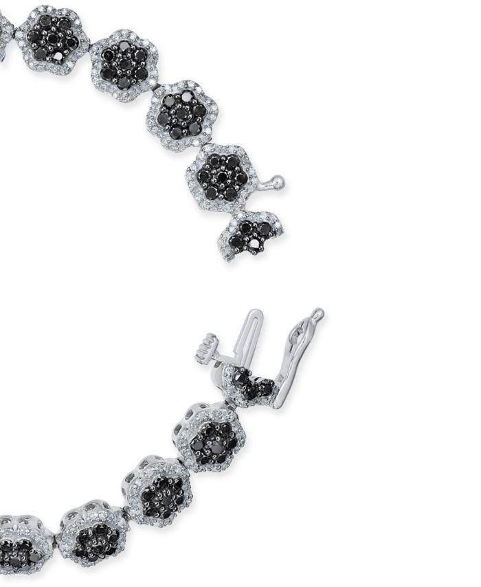 Macy's Diamond Floral Cluster Link Bracelet (5 ct. t.w.) in Sterling Silver & Reviews - Bracelets - Jewelry & Watches - Macy's