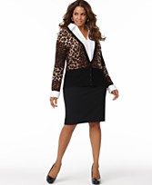 INC International Concepts Plus Size Long Sleeve Printed Layered Look Top & Pencil Skirt