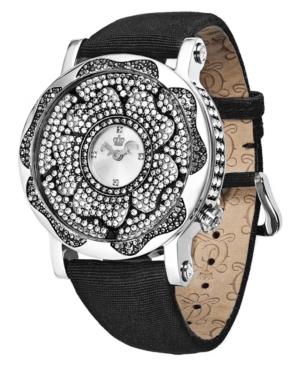 Juicy Couture Watch, Women's Queen Couture Black Grosgrain Strap 43mm 1900851