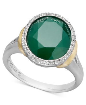 14k Gold and Sterling Silver Ring, Green Agate (3-5/8 ct. t.w.) and Diamond (1/10 ct. t.w.) Statement Ring