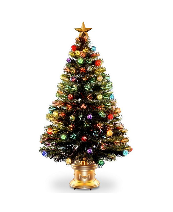 "National Tree Company - National Tree 48"" Fiber Optic Fireworks Tree with Ball Ornaments"